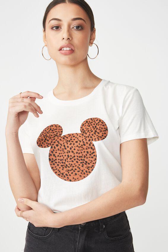 Tbar Fox Graphic T Shirt, LCN MICKEY HEAD SAHARA LEOPARD/GARDENIA