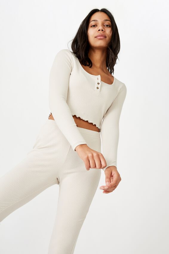 Bella Henley Long Sleeve Top, SILVER LINING