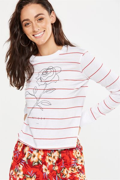 Tbar Tammy Chopped Graphic Long Sleeve Tee, WILL YOU ACCEPT FLAME SCARLET STRIPE/WHITE
