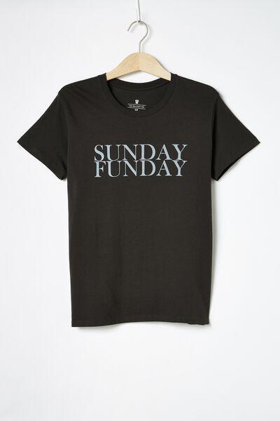 Classic Slogan T Shirt, SUNDAY FUNDAY/WASHED BLACK