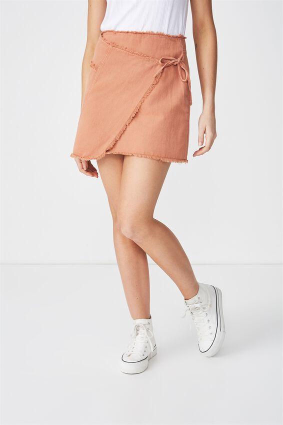 Wrap Denim Mini Skirt, SAHARA
