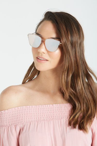 Cara Metal Frame Sunglasses, ROSE GOLD/PINK GREEN