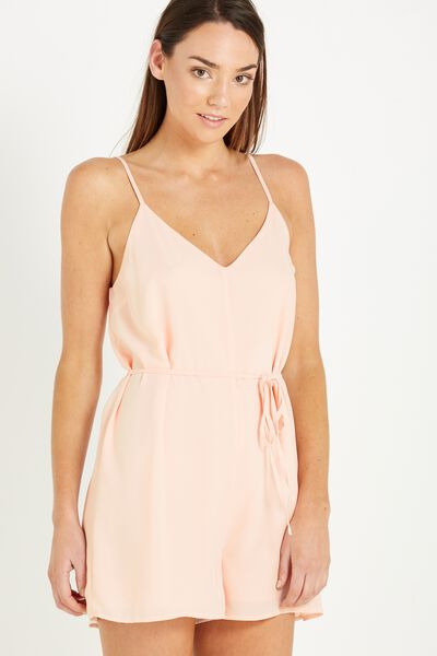Woven Maggie Playsuit, MISTY PINK