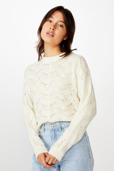 Patsy Cropped Pointelle Pullover, CLOUD DANCER