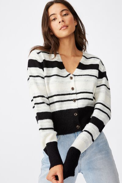 V Neck Button Through Cardi, BLACK STRIPE