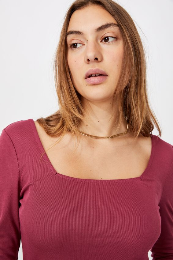 Serena Square Neck Long Sleeve Top, CRIMSON PINK