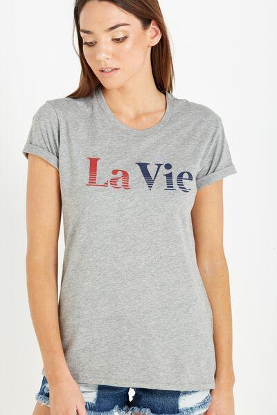 Tbar Fox Graphic T Shirt, LA VIE/GREY MARLE