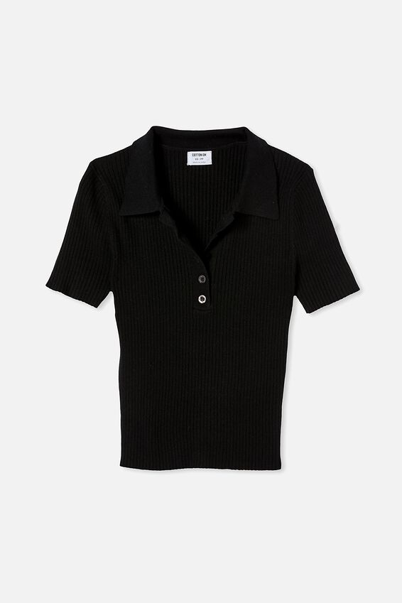Ribbed Short Sleeve Polo Knit, BLACK