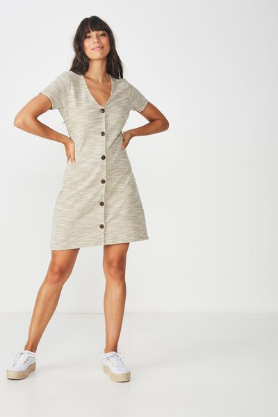 Marlow Button Through Mini Dress, SILVER SAGE TWIST