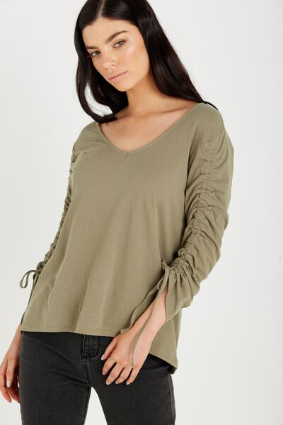 Alice Rouched Long Sleeve Top, SOOT