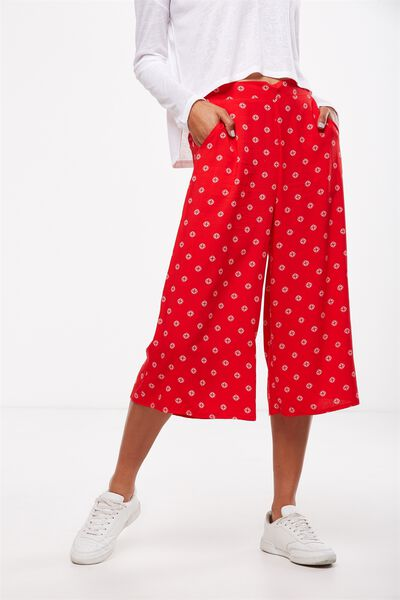Mid Rise Drapey Culotte 2, MEDALLION FLAME SCARLET