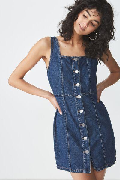 Denim Pinafore Dress, MID BLUE WASH BUTTON THROUGH