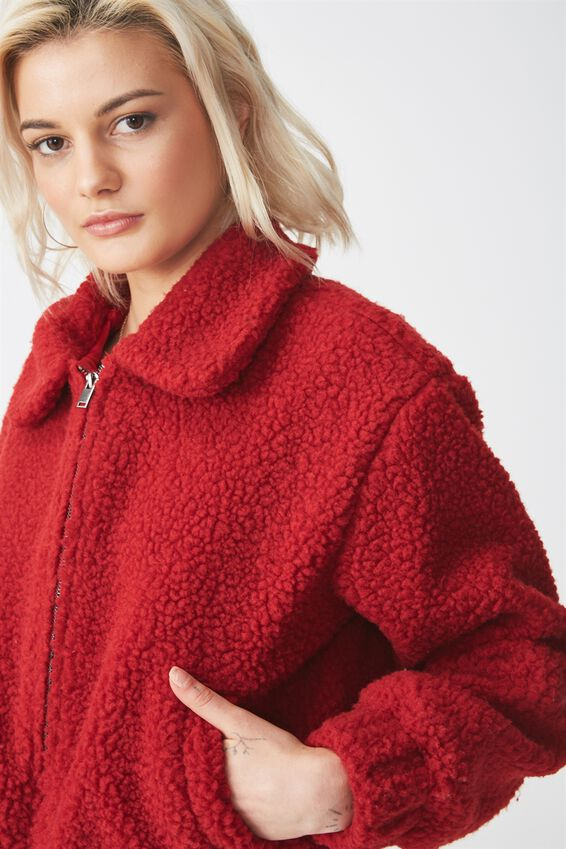 Cropped Teddy Bomber, CHILLI RED