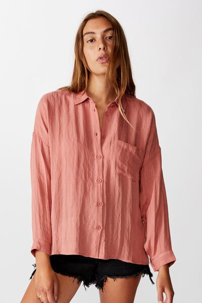 Oversize Drop Shoulder Shirt, WASHED CANYON ROSE