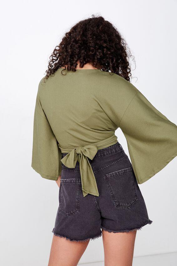 Jude Kimono Sleeve Top, DRIED HERB TEXTURE