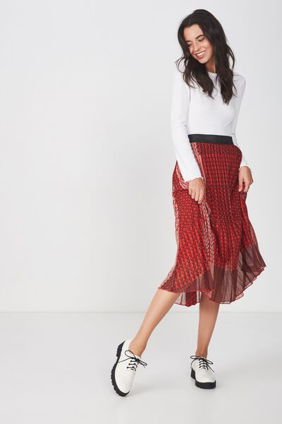 Woven Daria Pleated Midi Skirt, LOVE FLAME SCARLET AND MOONLIGHT
