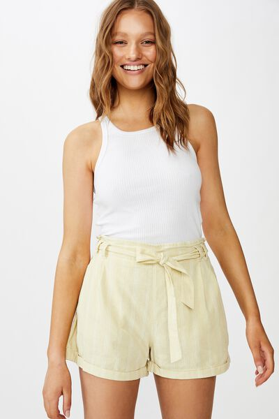 Riley High Waist Short, JASMIN STRIPE BLEACHED SAND CANNOLI