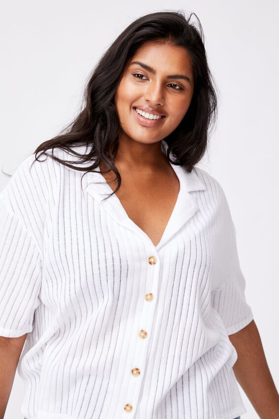 Curve Sunny Short Sleeve Polo Top, WHITE