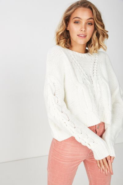 Carrie Sleeve Detail Cable Pullover, CREAM