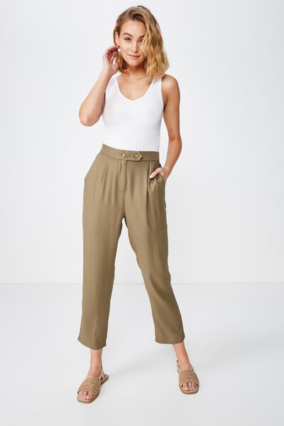 Ava Tapered Pant, BURNT OLIVE TEXTURED