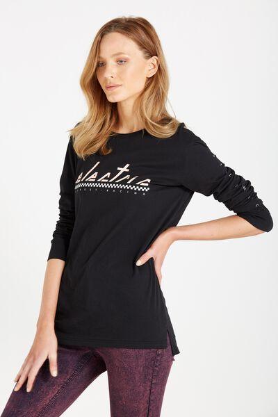 Debbie Long Sleeve Graphic Boyfriend Tee, ELECTRIC/BLACK