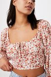 Arabella Rouched Front Blouse, CASEY DITSY BLACK