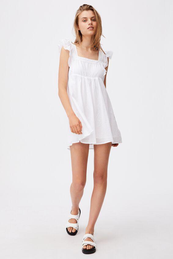 Woven Amily Ruffle Sleeve Mini Dress, WHITE