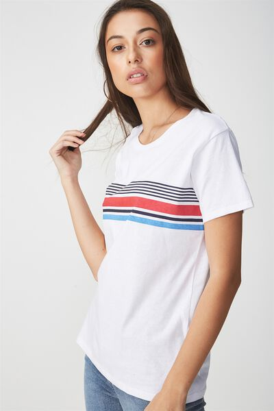 Tbar Fox Graphic T Shirt, CHEST STRIPE/WHITE