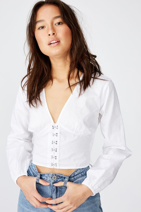 Hook And Eye L/S Blouse, WHITE