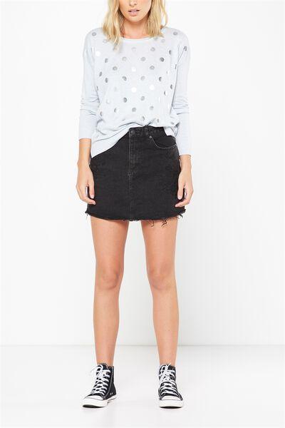 A Line Mini Denim Embroidered Skirt, WASHED BLACK