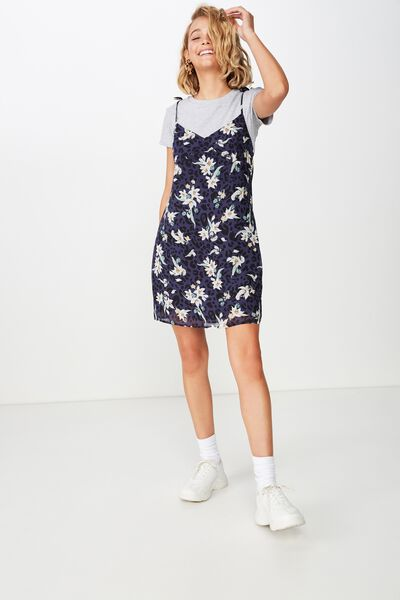 Woven Valentine Mini Dress, LISA ANIMAL FLORAL NAVY