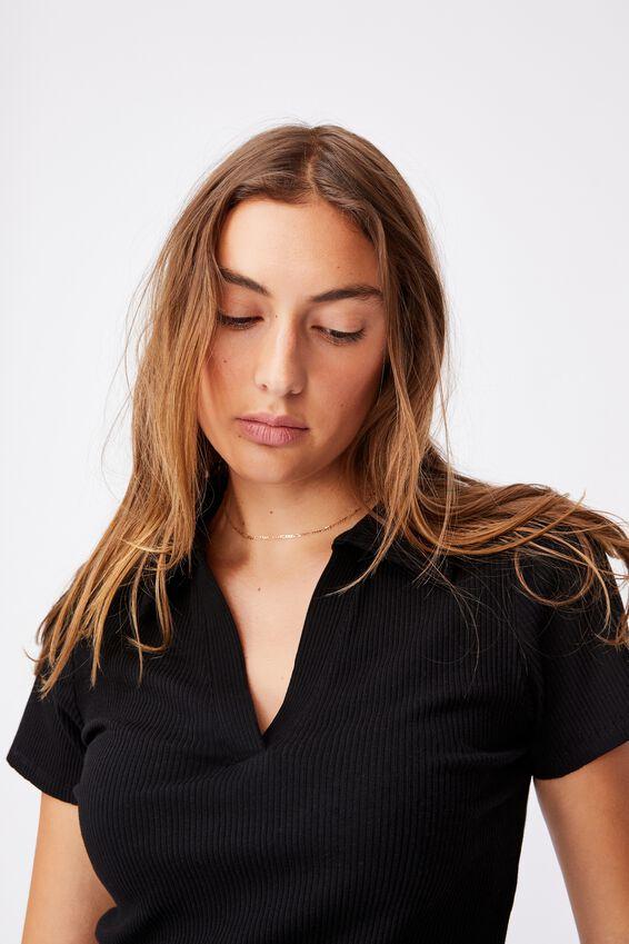 Zoe Short Sleeve Polo, BLACK