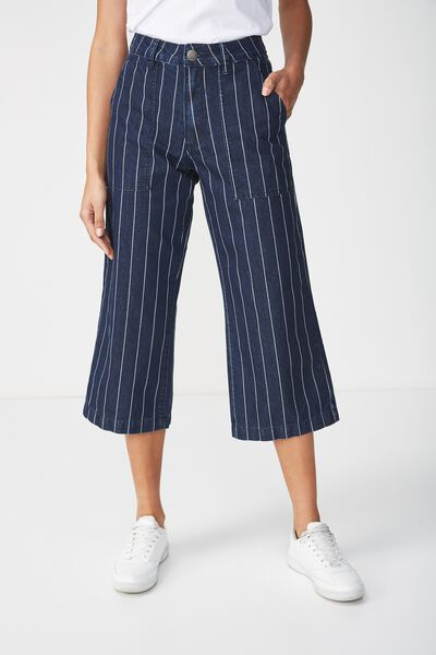 Mid Rise Wide Leg Crop Jean, RAILROAD RINSE