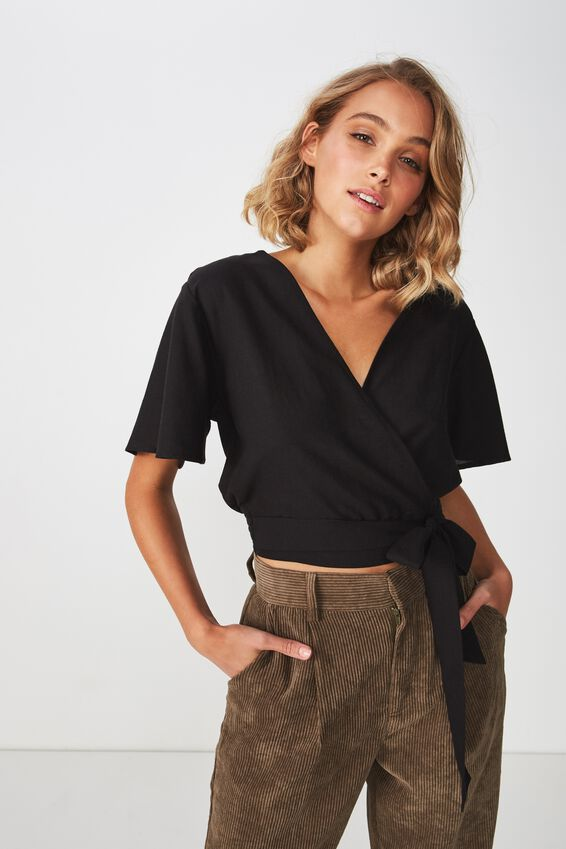 Carmel Wrap Top, BLACK