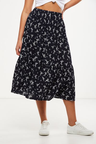 Woven Cherry Midi Skirt, PATSY FLORAL DISTY MOONLIGHT