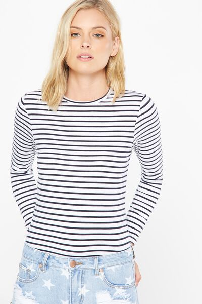 Basic Fitted Crew Long Sleeve Top, CLASSIC BRETON STRIPE WHITE MOONLIGHT