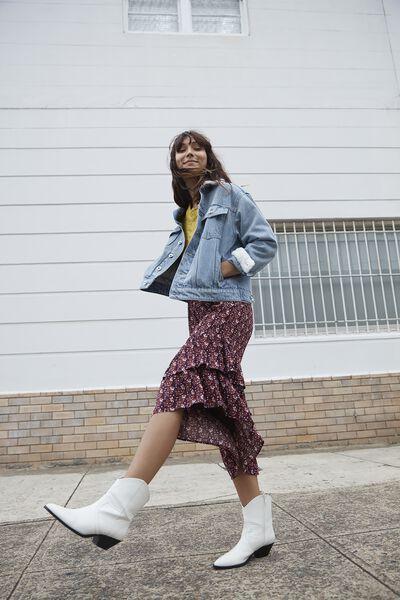 Woven Rikki Ruffle Midi Skirt, HARPER FLORAL WINETASTING
