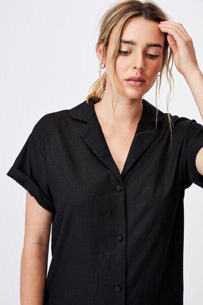Woven Evie Shirt Mini Dress, BLACK