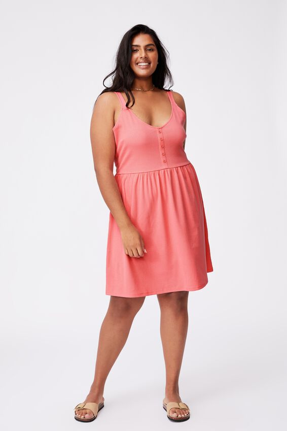 Curve Brianna Button Detail Wide Strap Mini Dress, STRAWBERRY SORBET