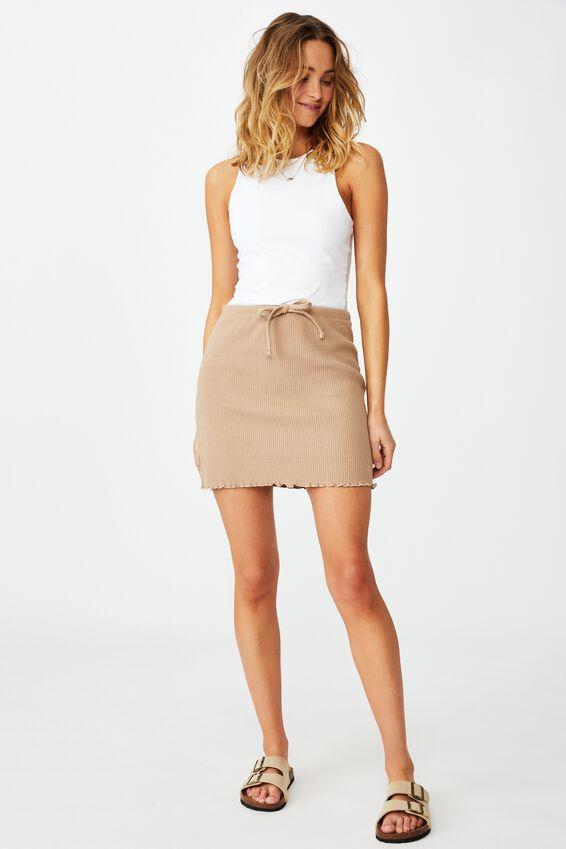 Streamline Ribbed Mini Skirt, NATURAL