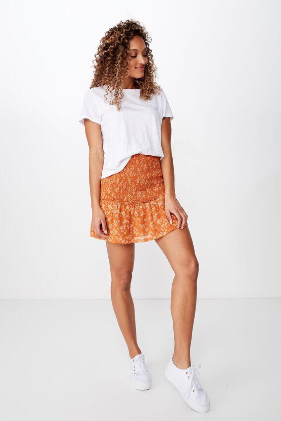 Woven Serena Shirred Waist Mini Skirt, ALICE DITSY RUST TAN