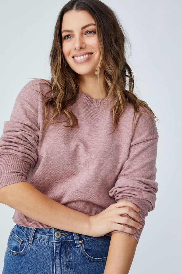 Easy Crew Pullover, WINE MARLE