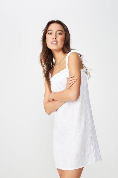 Woven Sammy Straight Neck Mini Dress, WHITE