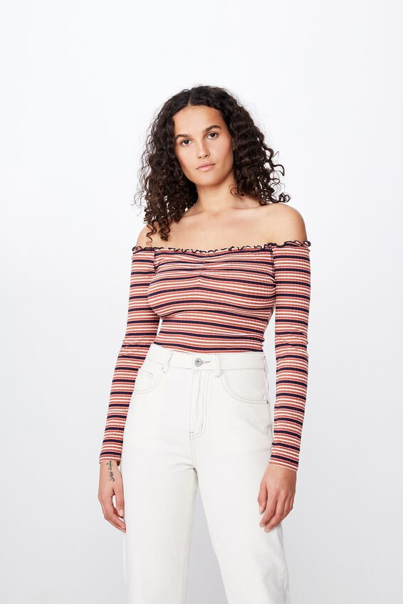 Riley Off The Shoulder Long Sleeve Bodysuit by Cotton On