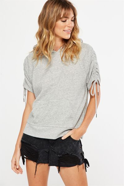 Racquel Rouched Short Sleeve Hoodie, GREY MARLE