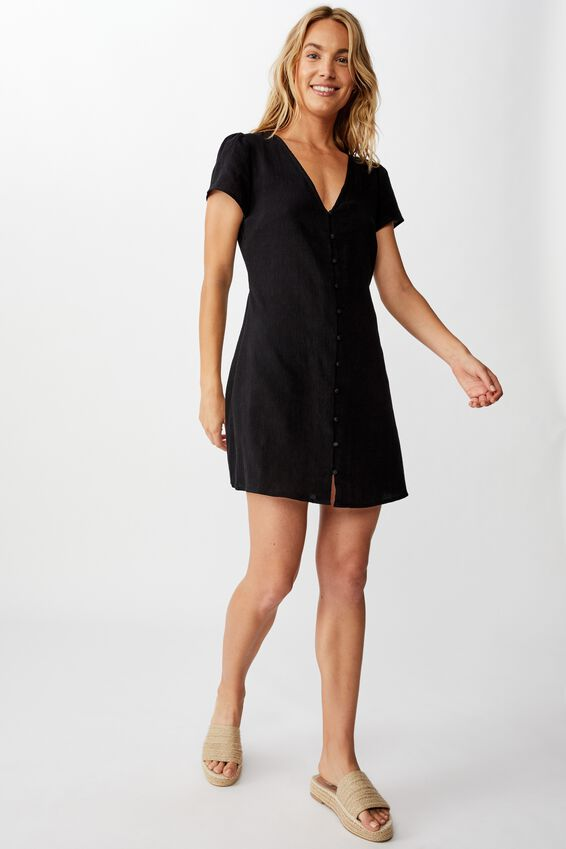 Woven Juliette Short Sleeve Mini Dress, BLACK
