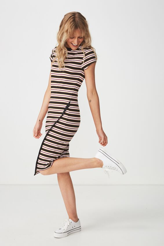 Anthea Short Sleeve Midi Dress, RILEY STRIPE BLACK