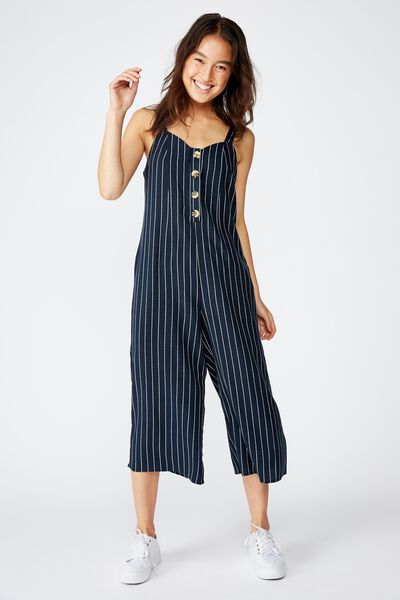 Woven Adaline Strappy Jumpsuit, HANNAH STRIPE TOTAL ECLIPSE