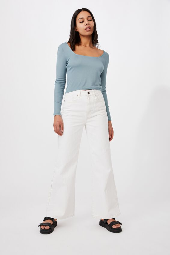 Serena Square Neck Long Sleeve Top, NORTHERN SKY