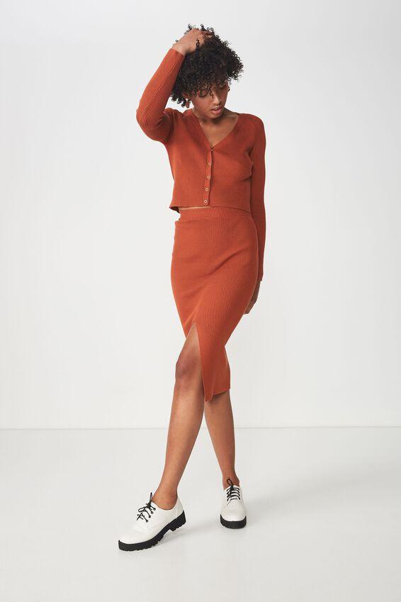 Cleo Knit Tube Skirt, UMBER BROWN